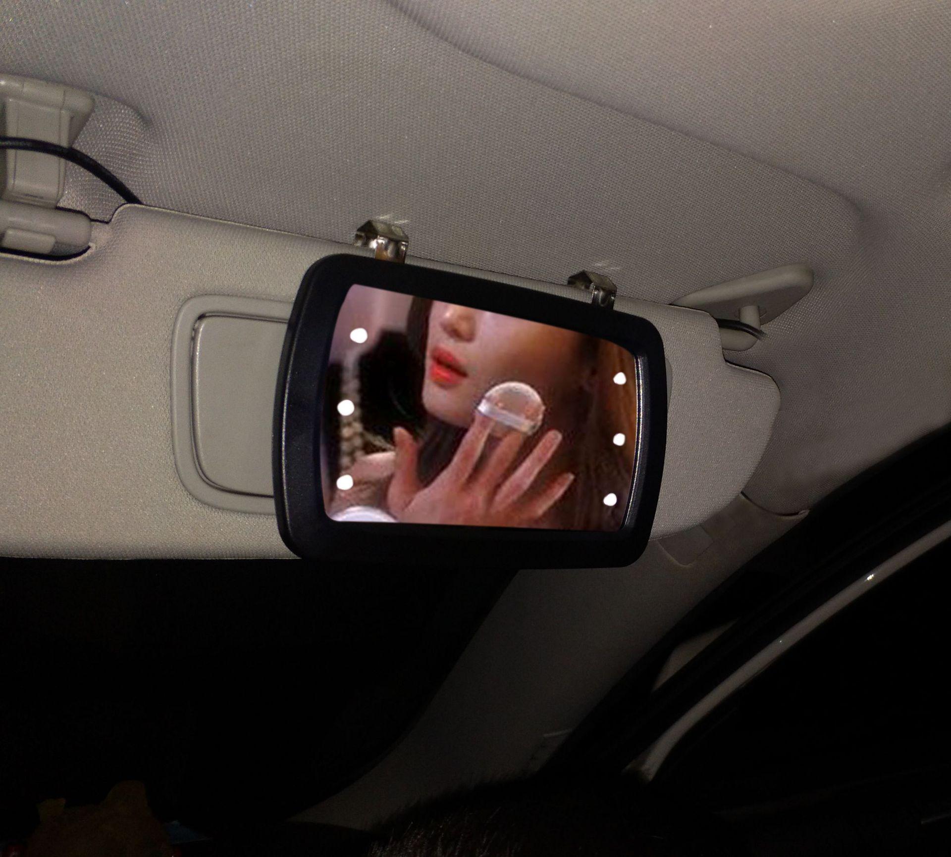 汽车车载遮阳板化妆镜车用梳妆镜触屏开关LED照明镜车内补妆镜