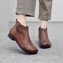 软皮女短靴靴复古手工冬季马丁靴平底加绒皮靴短筒踝单靴