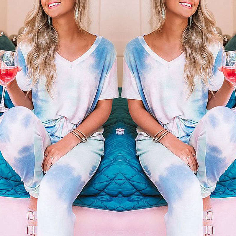 autumn and winter new women's tie-dye printed home service two-piece suit NSKX5907