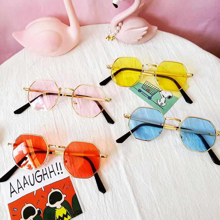 Metal retro children polygonal antiultraviolet outing sunglasses wholesale nihaojewelry NHBA237703