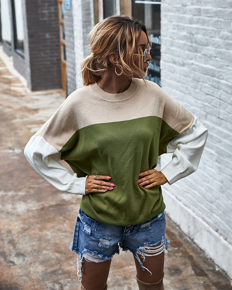 women's autumn and winter new color contrast sweater blouse wholesale NSKA290