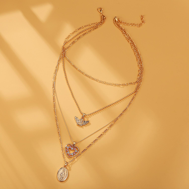 Fashion new angel love portrait pendant necklace retro simple multilayer golden clavicle chain nihaojewelry NHPJ237481