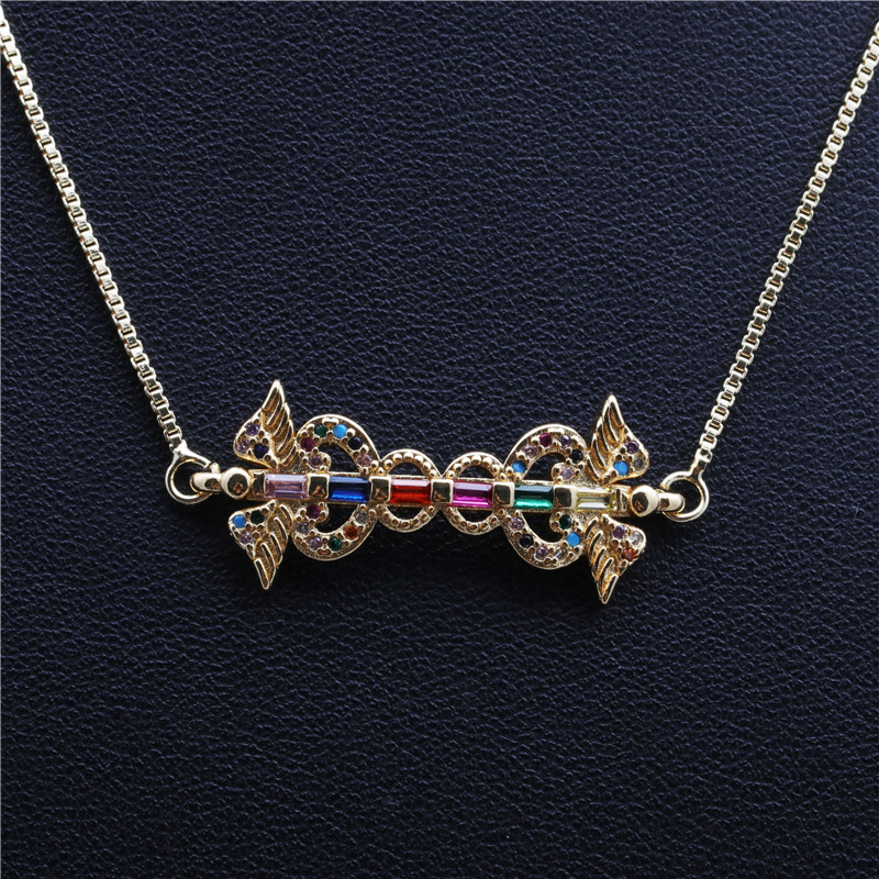 Trendy New Products Jewelry Micro-Set Zircon Hanging Copper Necklace wholesale nihaojewelry NHYL234170