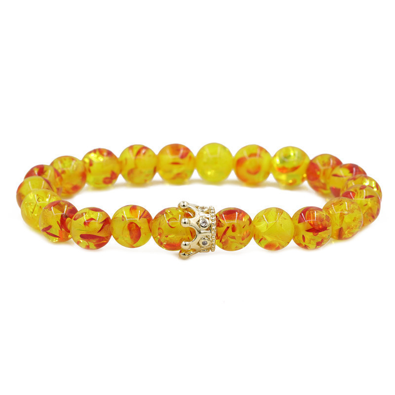 hot sale frosted stone crown amber moonstone crown couple bracelet wholesale nihaojewelry  NHYL226467