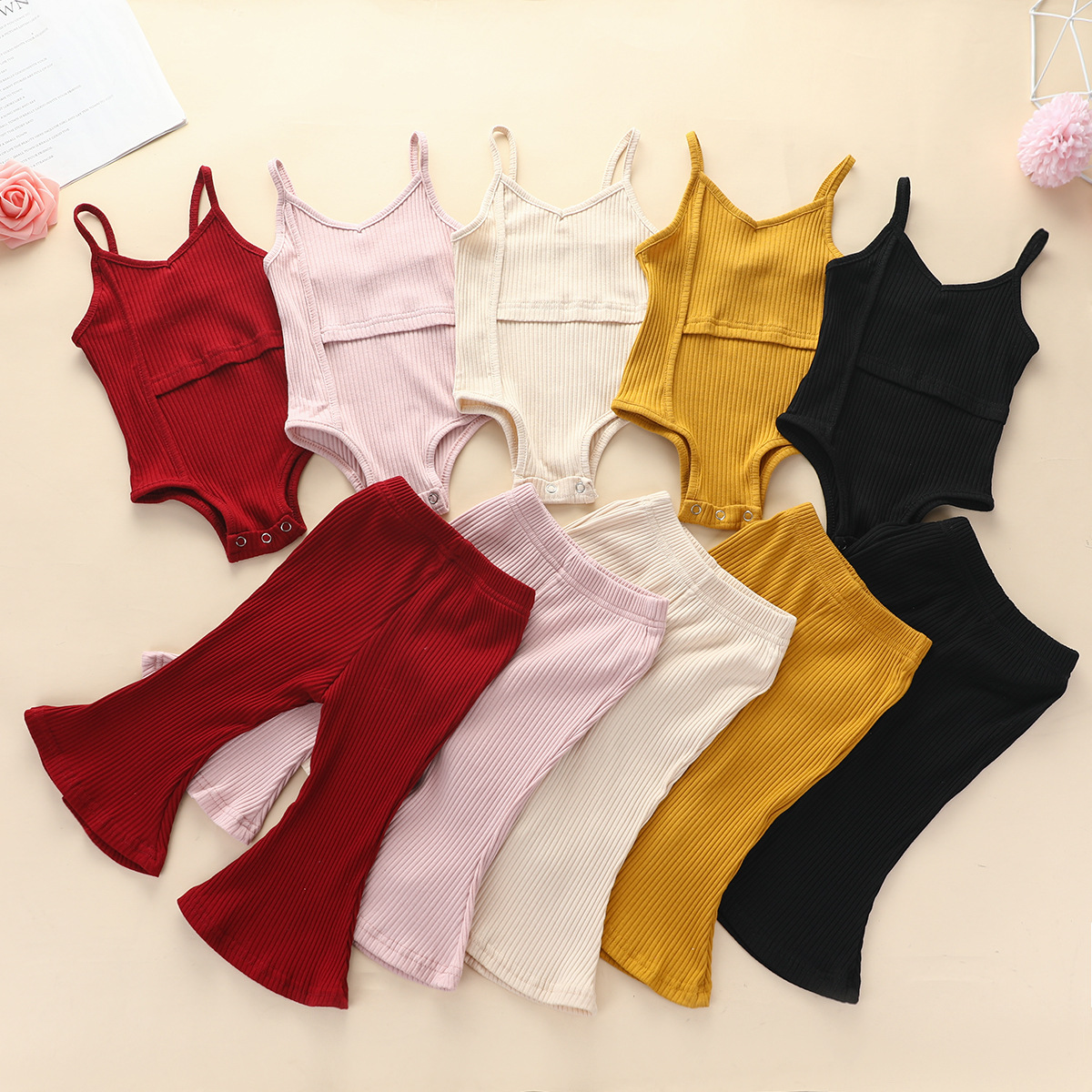 INS Hot Girl Suit Cotton Sling Romper Flared Pants