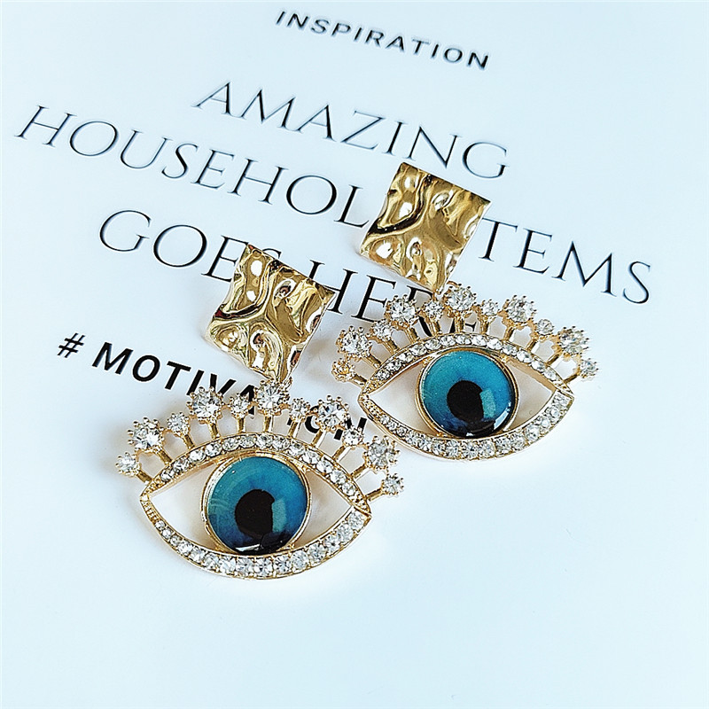 Fashion women's earring new fashion alloy diamond eyes earrings wholesale NHVA201085