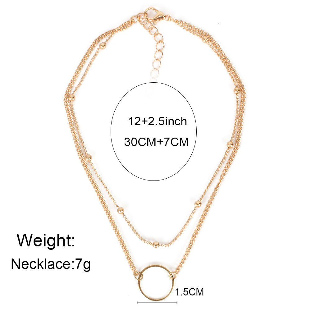 round bead chain metal necklace simple alloy circle pendant necklace ornament wholesale nihaojewelry NHCT232286