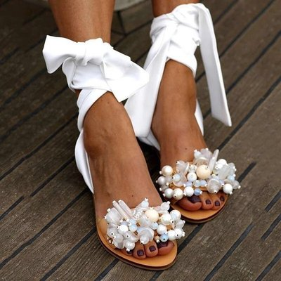 Lace up Beaded flat sandals women lace up Roman retro sandals women