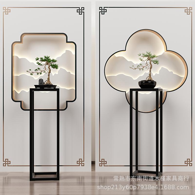 新中式免漆花架禅意现代花架花几花台实木置物架厂家直销家具特惠