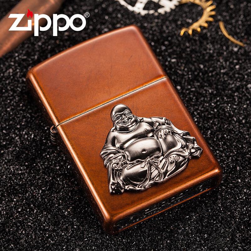 美国原装zippo煤油打火机防风笑佛富贵弥勒佛 21195专柜正品