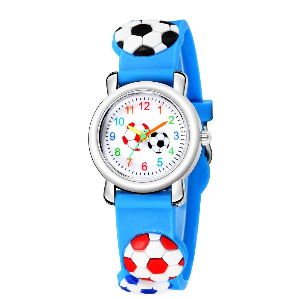 Cartoon watch 3D embossed football pattern strap children's watch boy girl football sports watch NHSS222679