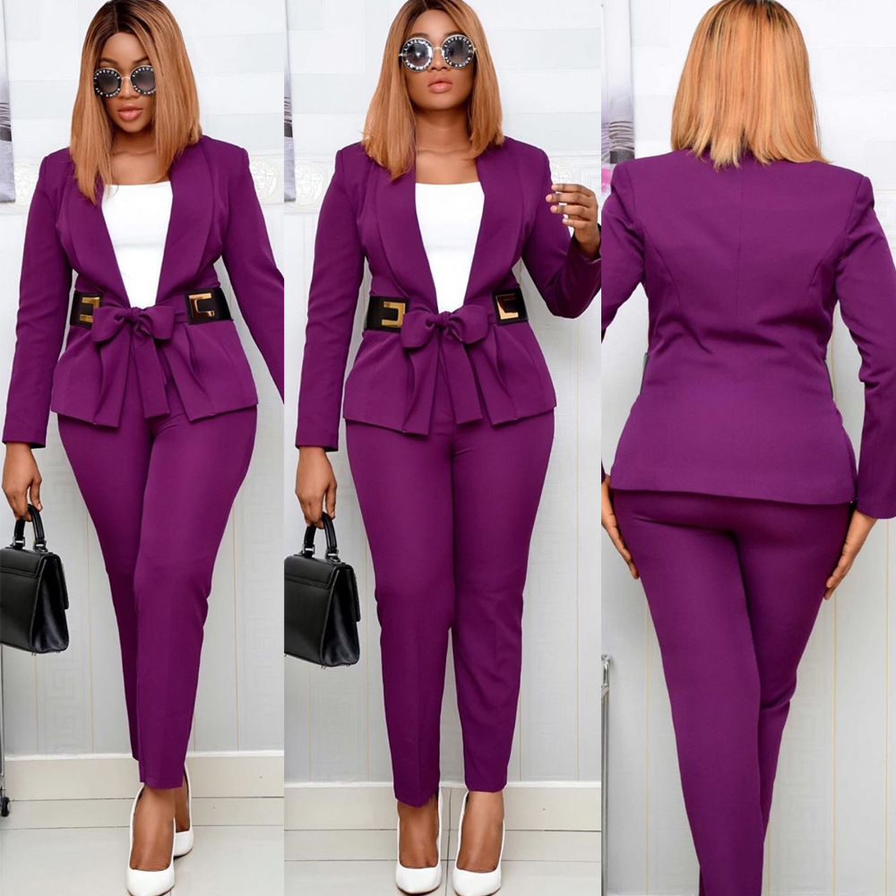 Small Suit With Special Leather Belt Ol Commuting Large Two-Piece Set