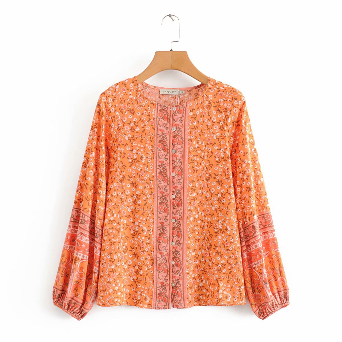 Wholesale printed casual loose blouse shirt top NHAM201478