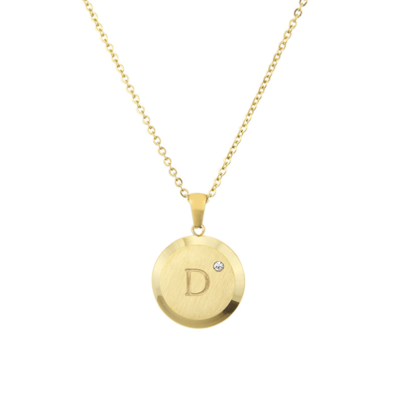 new fashion simple  stainless steel belt drill 26 letter necklace hot gold English titanium steel pendant wholesale nihaojewelry NHBP223736
