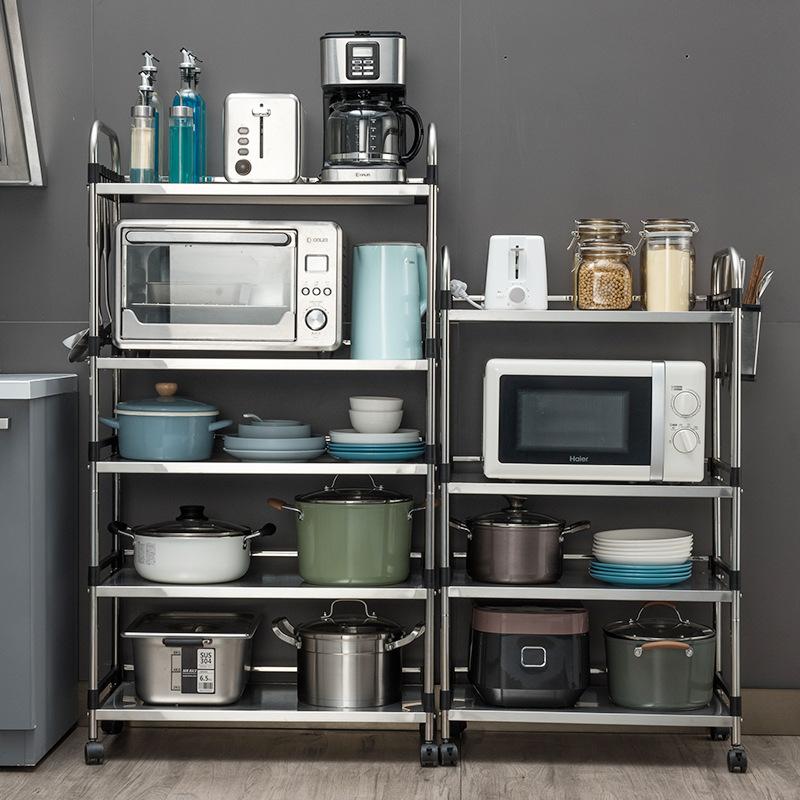 多功能移动推车不锈钢收纳架厨房用品落地置物架家用客厅储物架