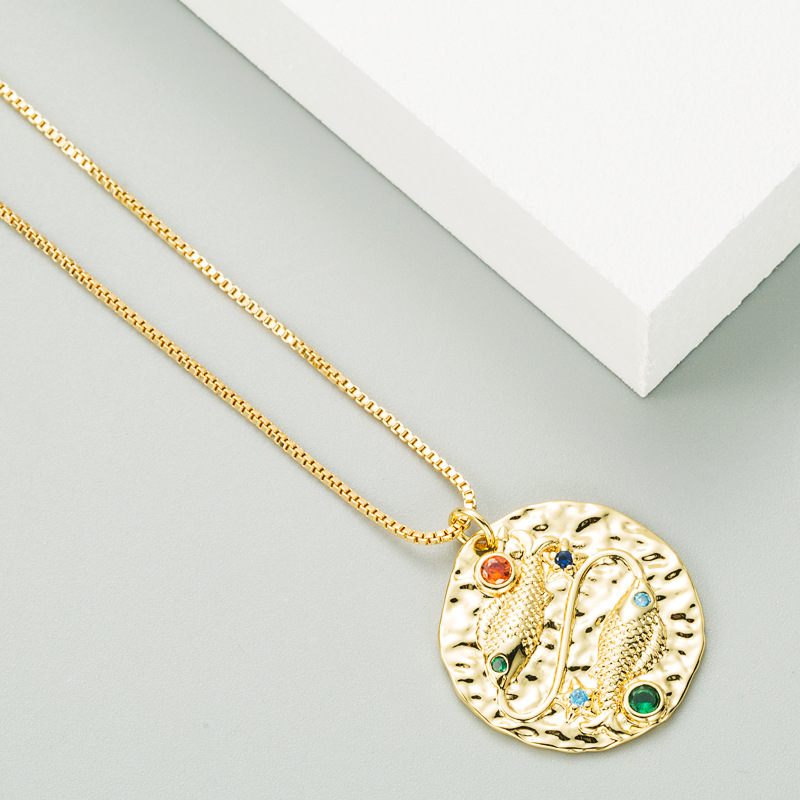 embossed double fish round pendant copper micro-inlaid zircon hip-hop necklace NHLN270638