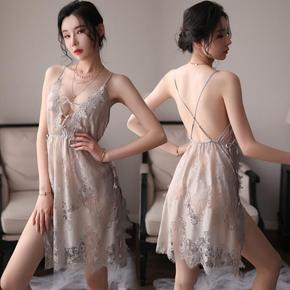 Large size fun underwear sexy hollow out Lace nightdress women Lace net hanging neck dew pajamas