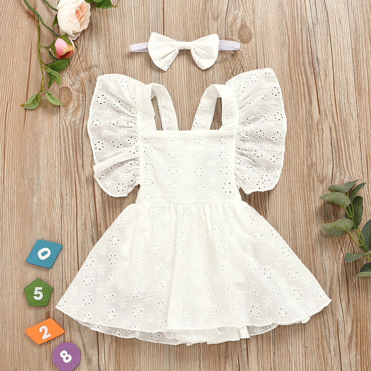 跨境专供 欧美童装2020夏季白色纯色蕾丝暗扣哈衣裙子头巾两件套