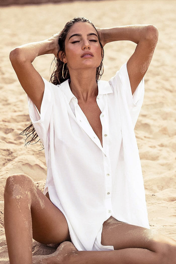 new shortsleeved shirt beach jacket bikini cardigan beach holiday sunscreen clothing swimming wholesale nihaojewelry NHXW234881