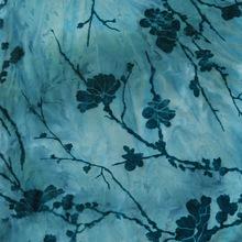 厂家直销网眼布植绒  服装布料印花中国风面料 涤纶弹力网批发