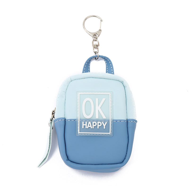 Korean color matching letter coin purse ladies leather schoolbag-shaped lipstick earphone storage coin bag NHAE249067