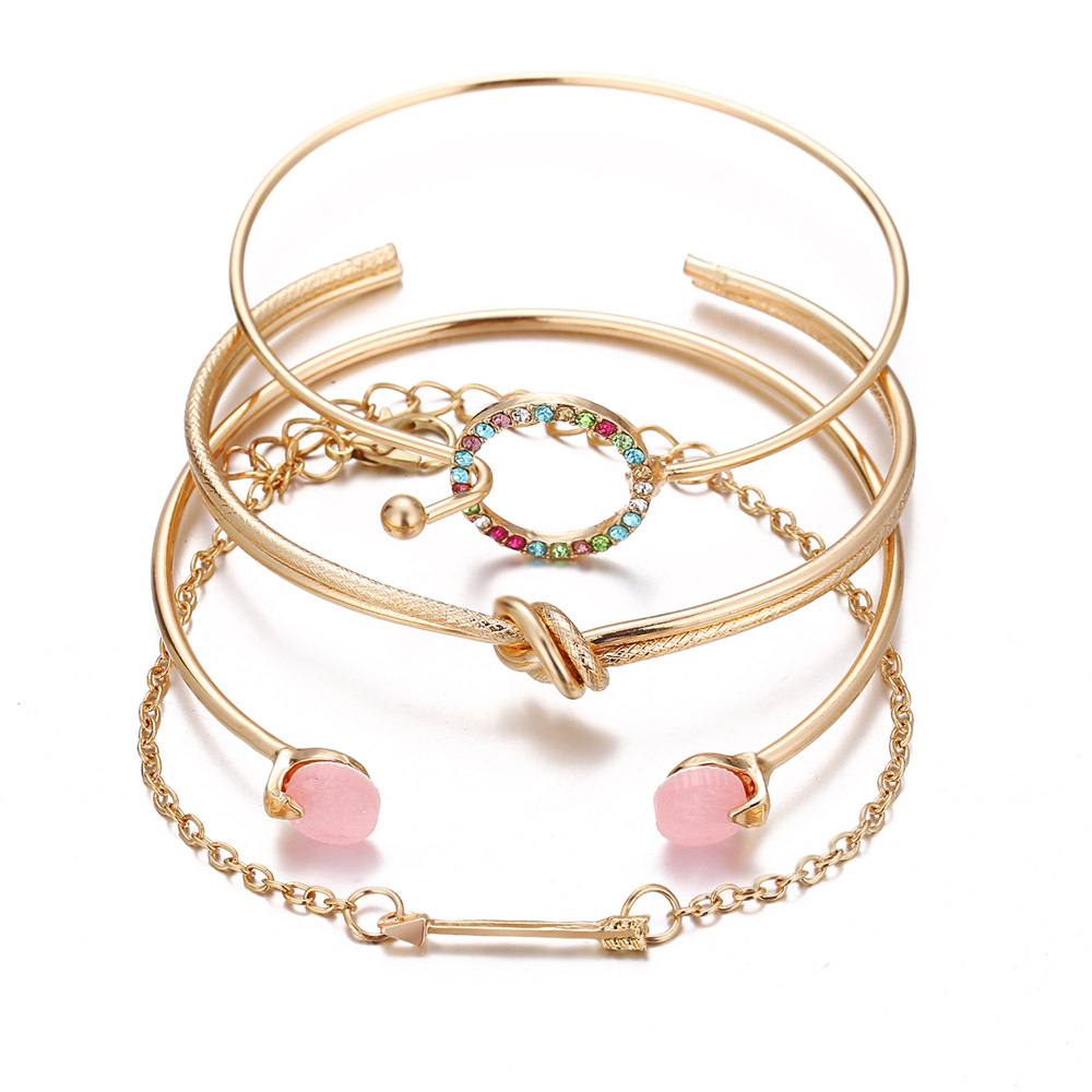New Fashion Moon Set Pulsera abierta de cuatro piezas con diamantes coloridos Pulsera simple retro creativa NHPJ206684