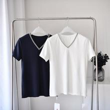 60102夏季新款V字領女士t恤氣質通勤雪紡衫單色女士上衣