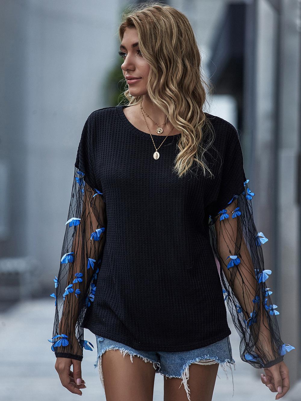 Hot New Women's Mesh Lantern Sleeve Loose Black Knitwear wholesale NSDF103