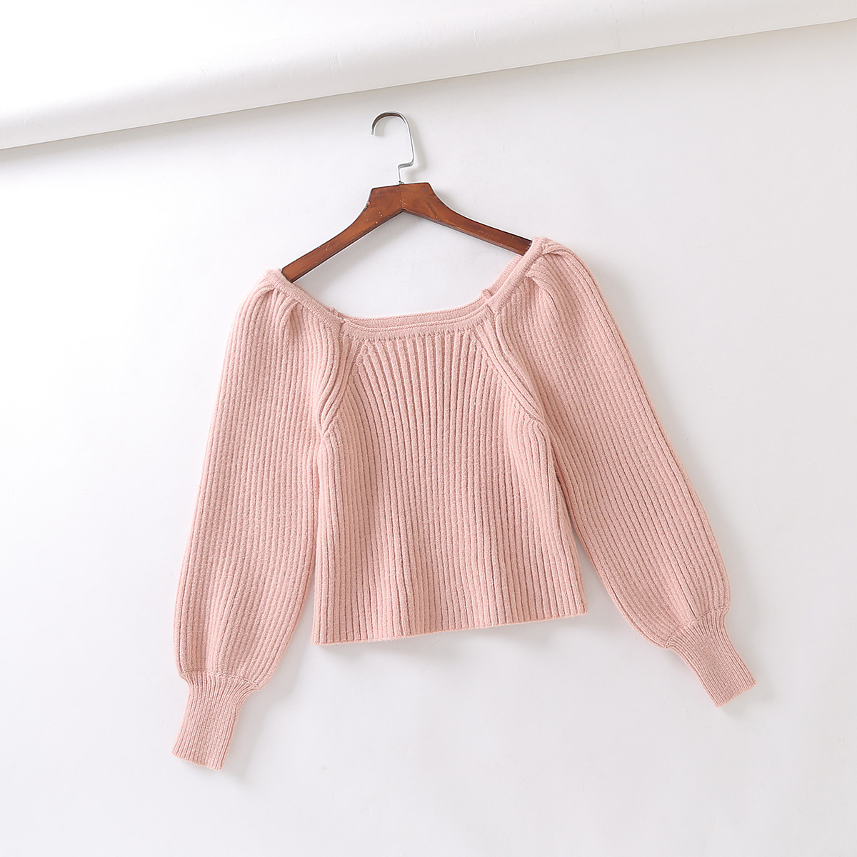 Wholesale Autumn French Square Neck Bubble Lantern Sleeve Short Women Knitted Top Sweater  NSAM3100