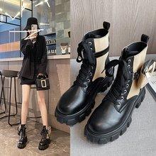 厂家直销2020秋冬新款韩版松糕底系带小仙女可拆卸腰包时装短靴潮