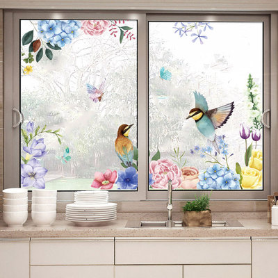 Inkjet ink flower and bird wall stickers glass stickers home interior decoration removable background stickers