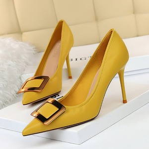96161-3 the European and American fashion professional OL shoes high heel with shallow pointed mouth thin metal square b