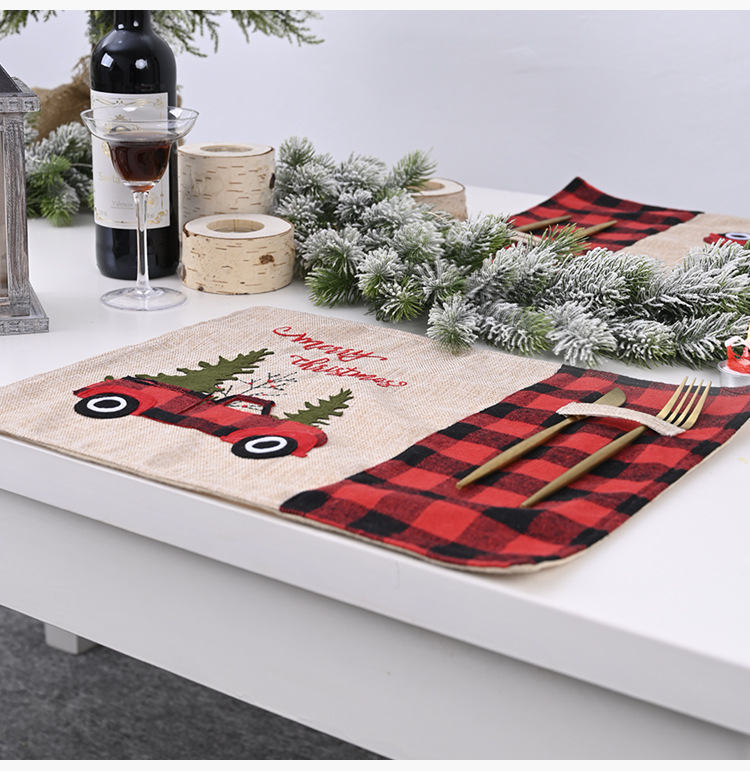 Christmas red and black grid table mat cartoon tablecloth table decoration knife and fork mat NHMV262305