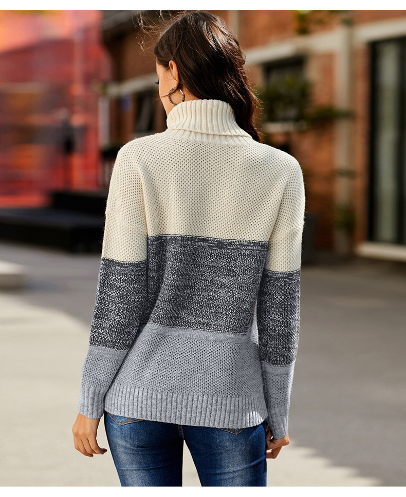 three-color contrast color warm long-sleeved pullover women's sweater NSSI2978
