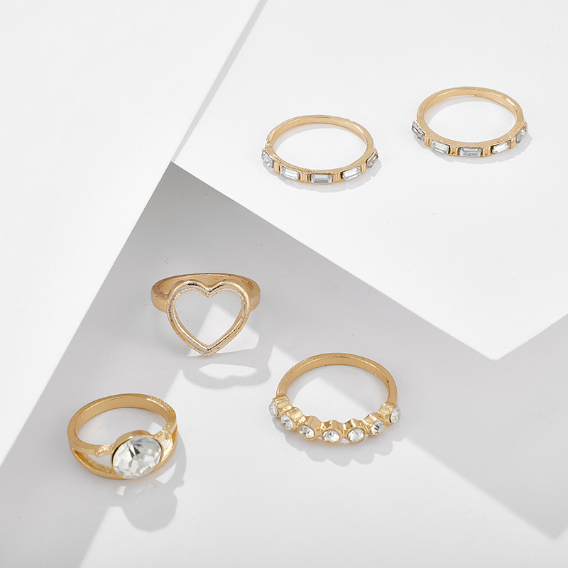 New set ring 5piece zircon diamond heartshaped ring simple fashion love joint ring NHGY201865