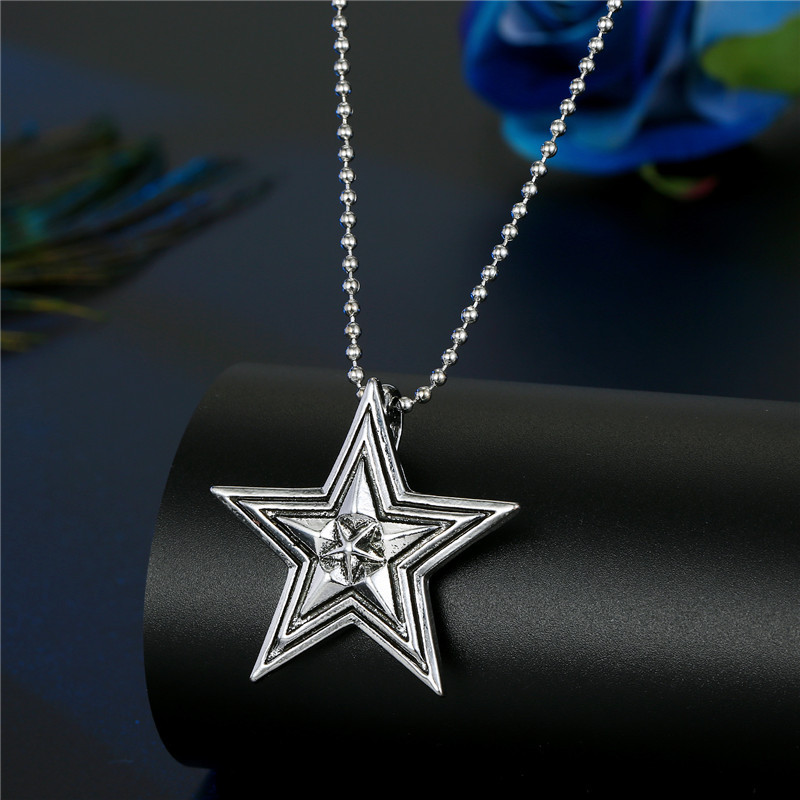 punk  sixpointed star hollow star compass necklace NHGO286917