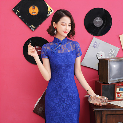 Cheongsam royal blue lace chinese dress Female Miss etquette Costume Banquet Catwalk car model Performance Costume Long Chinese Style