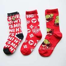 奶嘴超人圖案襪子黑超中筒童襪可愛卡通棉襪日單中大童高腰批發