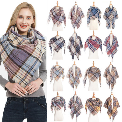 Hoop yarn thorn hair color Plaid square scarf triangle scarf women neck Cape Tonglu