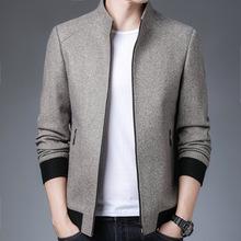 2020羊毛夾克男中年商務休閑短款爸爸裝領導新款毛呢立領外套大衣
