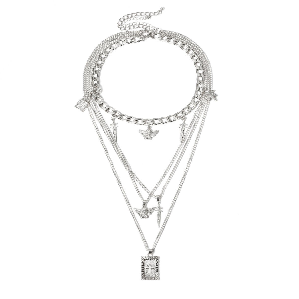Fashion jewelry retro cross-locked micro-inlaid ornaments personalized diverse little angel sword-shaped necklace NHXR217237