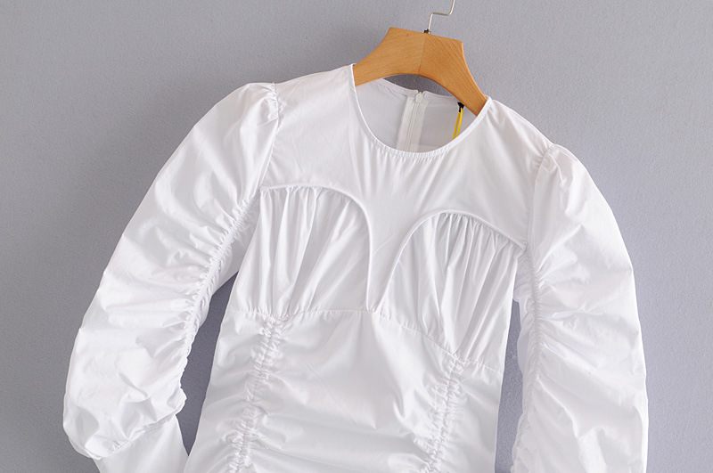 Fashion long sleeved blouse with drawstring hem on both sides of the chest NHAM198502
