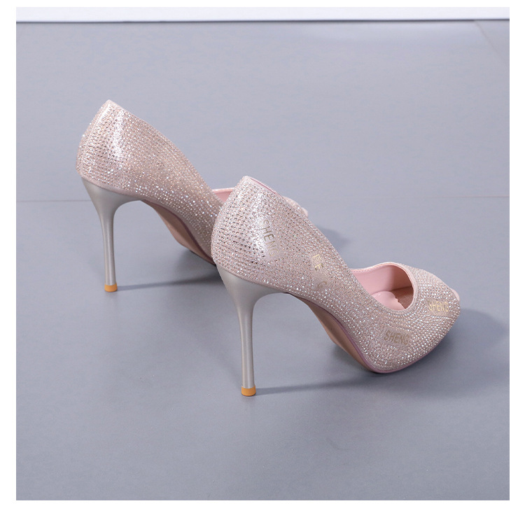 new letters rhinestone fish mouth high-heeled single shoes stiletto sexy sandals wholesale nihaojewelry NHSO236888