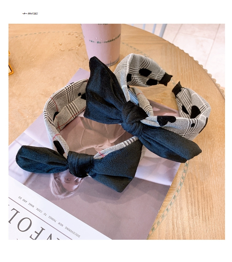 Korean fashion hair accessories fabric houndstooth wide-brimmed bow non-slip headband NHHD263764