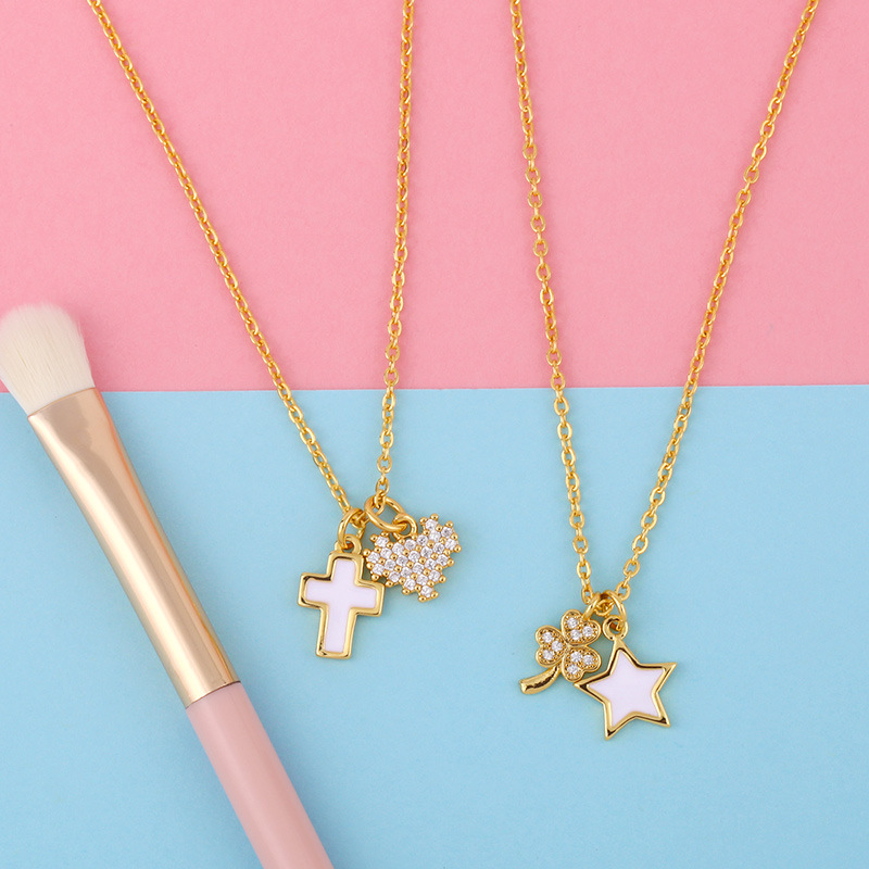 Korean short five-pointed star shell pendant diamond four-leaf clover copper clavicle chain necklace for women NHAS241657