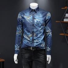 欧洲站男装2020秋新款韩版牛仔拼接方领衬衫青年帅气印花长袖衬衣