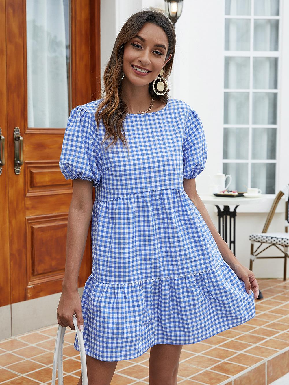 Summer New Fashion Casual Folded Lantern Sleeve Loose Plaid Dress Thin Button Skirt NSDF355
