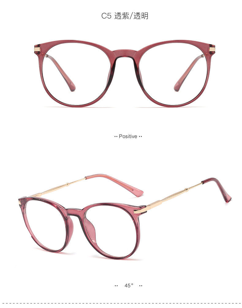 hot sale new metal ladies flat glass retro fashion frame glasses can be equipped with myopia wholesale nihaojewelry NHFY233583