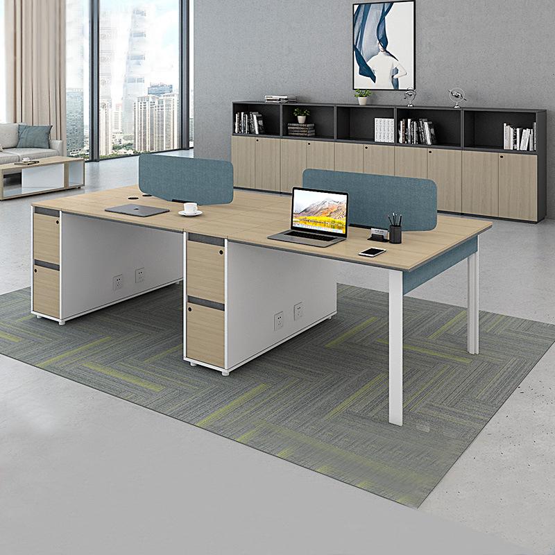【电脑桌】员工4人卡位定制开放式组合办公桌椅桌上屏员工位双人
