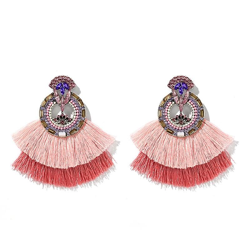 New earrings colorful rhinestone gems wild bohemian fanshaped tassel earrings wholesale nihaojewelry  NHGY219076